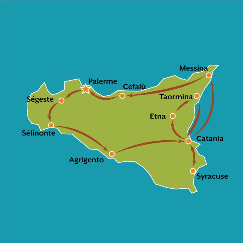 Carte Grand tour de la Sicile