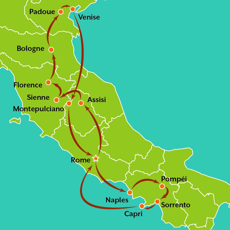 Pulcinelli tour map FR