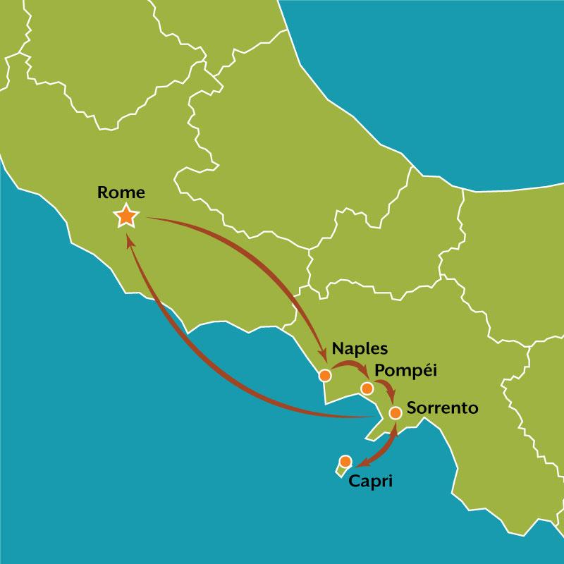 Map Bella Napoli tour French