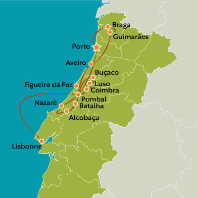 tour map au coeur du portugal